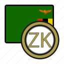 coin, exchange, kwacha, zambia, money, payment icon