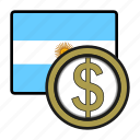 argentina, coin, exchange, money, peso, payment