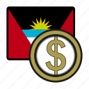 antigua, coin, dollar, exchange, money, payment