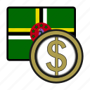 coin, dollar, dominica, exchange, money, payment