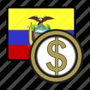 coin, ecuador, exchange, money, peso, payment