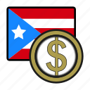 coin, dollar, exchange, money, payment, puerto rico