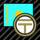 kazakhstan, exchange, tenge, money, coin, payment icon