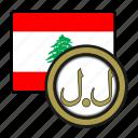 exchange, pound, lebanon, money, coin, payment icon