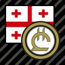 exchange, georgia, lari, coin, money, payment icon
