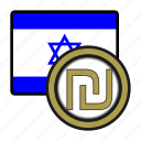exchange, israel, money, shekel, coin, payment, israel flag icon