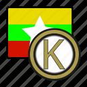 kiat, exchange, money, myanmar, coin, payment icon