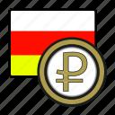 ossetia, rublo, coin, money, exchange, payment icon