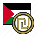 palestine, exchange, money, shekel, coin, payment icon