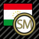 tajikistan, exchange, somoni, money, coin, payment icon