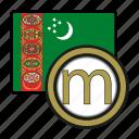 exchange, money, coin, manat, turkmenistan, payment icon