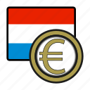 coin, euro, exchange, luxemburg, money, payment icon