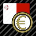 coin, euro, exchange, malta, money, payment