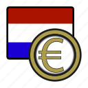 coin, euro, exchange, money, netherlands, payment