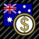 australia, coin, dollar, exchange, money, payment
