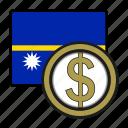 coin, dollar, exchange, money, nauru, payment