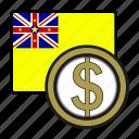 coin, dollar, exchange, money, niue, payment