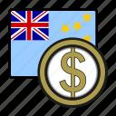 coin, dollar, exchange, money, tuvalu, payment