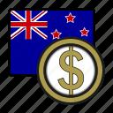 coin, dollar, exchange, money, new zeland, payment