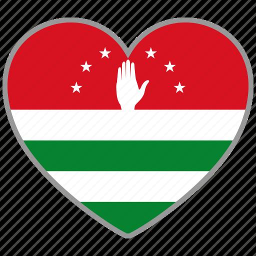 abkhazia, country, flag, flag heart, love icon