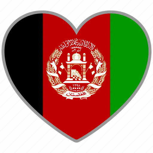 afghanistan, country, flag, flag heart, nation icon