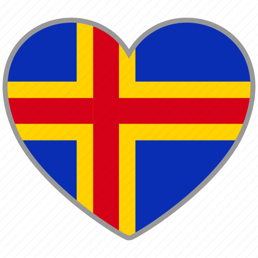 aland, country, flag, flag heart, love icon
