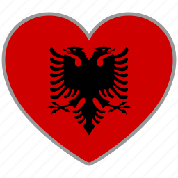 albania, country, flag, flag heart, love icon