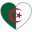 algeria, country, flag, flag heart, love icon