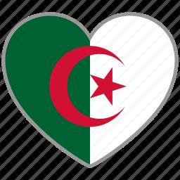 algeria, country, flag, flag heart, love icon