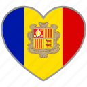 andorra, country, flag, flag heart, love icon