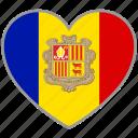 andorra, flag heart, country, flag, love icon