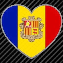 andorra, country, flag, flag heart, love icon