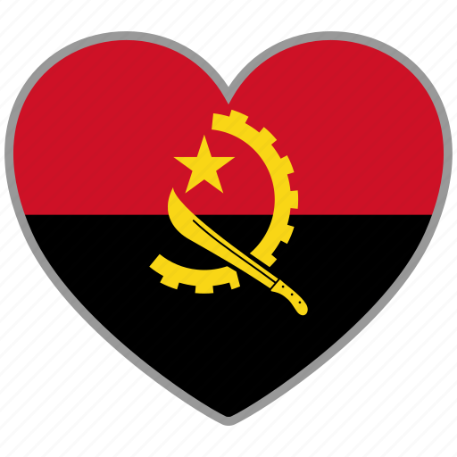 angola, country, flag, flag heart, love icon