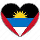 antigua and barbuda, flag, flag heart, love, nation icon