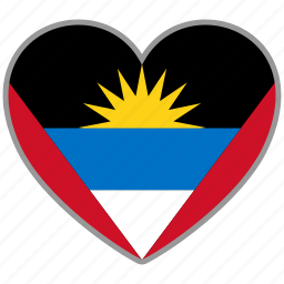 antigua and barbuda, flag, flag heart, love, nation icon