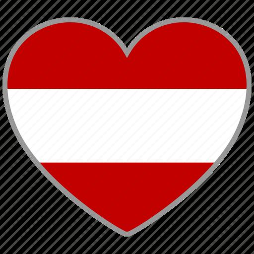 austria, country, flag, flag heart, love icon