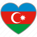 azerbaijan, country, flag, flag heart, love icon