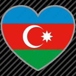 azerbaijan, country, flag, flag heart, love icon