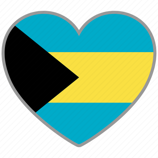 bahamas, country, flag, flag heart, love icon