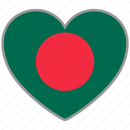 bangladesh, country, flag, flag heart, love icon