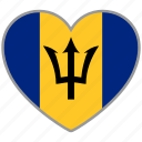 barbados, country, flag, flag heart, love icon