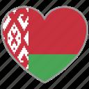 belarus, flag heart, country, flag, love