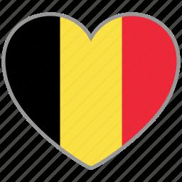 belgium, country, flag, flag heart, love icon