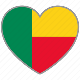 benin, country, flag, flag heart, love icon