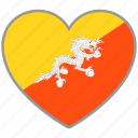 bhutan, country, flag, flag heart, love icon