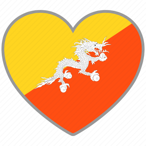 bhutan, country, flag, flag heart, love icon