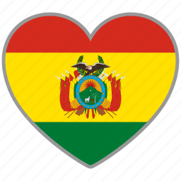 bolivia, country, flag, flag heart, love icon