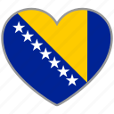 bosnia, country, flag, flag heart, love icon