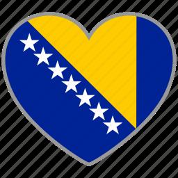 bosnia, country, flag, flag heart, love icon