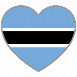 botswana, country, flag, flag heart, love icon